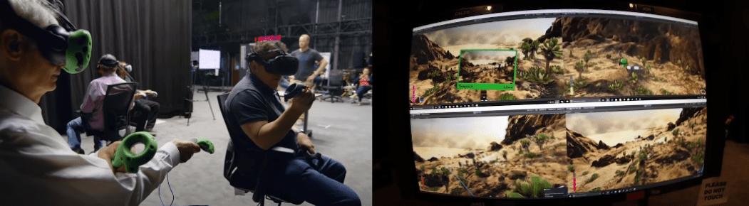 Imágenes del equipo de producción del Rey León usando avatares en realidad virtual para moverse por el mundo digital.
