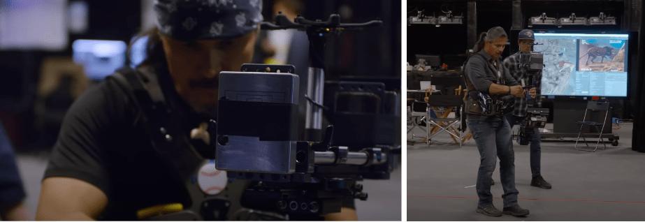 El Rey León: Imágenes del técnico de cámara grabando con los sensores.